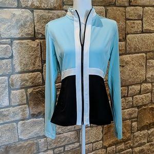 Boston Proper Zip Jacket Blue & Black, size large